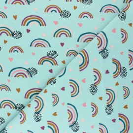 Poppy Jersey fabric - aqua green Rainbows and hearts x 10cm