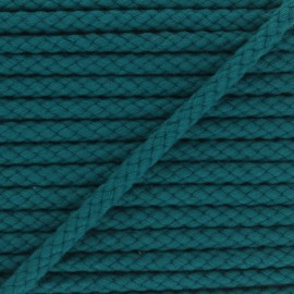 Cordon tressé 7mm Thalia - bleu paon x 1m
