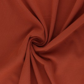 Ribbed Viscose Jersey Fabric - rust Nour x 10 cm