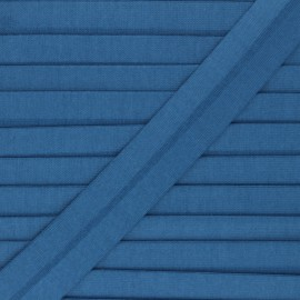 20 mm plain cotton jersey bias binding - blue Thalia  x 1m