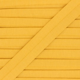 Biais jersey coton uni 20 mm Thalia - jaune moutarde x 1m