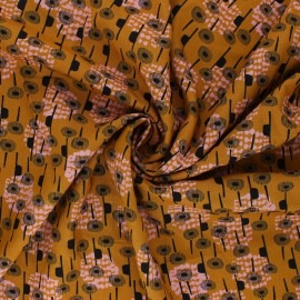 Cotton Steel Rayon fabric - Ochre Kaika Flowers x 10cm