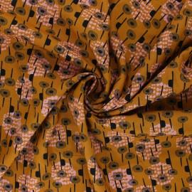 Tissu rayonne Cotton Steel Flowers - Kaika - ocre x 10cm
