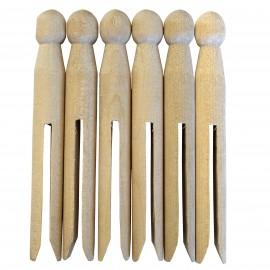 Pack de 6 pinces à linge en bois