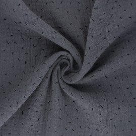 Double cotton gauze fabric - grey Naïs x 10cm
