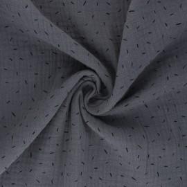 Tissu double gaze de coton Naïs - gris x 10cm