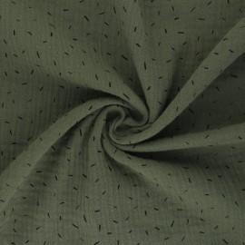 Double cotton gauze fabric - khaki green Naïs x 10cm