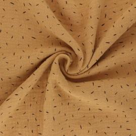 Double cotton gauze fabric - camel Naïs x 10cm