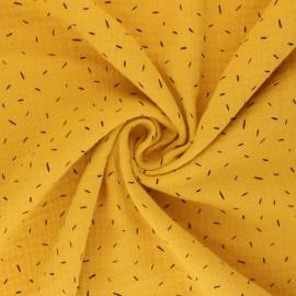Double cotton gauze fabric - mustard yellow Naïs x 10cm