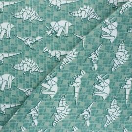 Tissu sweat Poppy Dinosaurs - vert  x 10cm