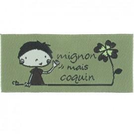 "Label ""Mignon mais coquin"" - khaki"