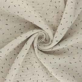 Double cotton gauze fabric - greige Naïs x 10cm