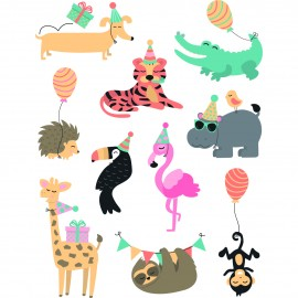 60 Rub-on stickers for fabric & paper - Animaux en fête