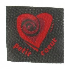 """Etiquette """"Petit coeur"""" gris-rouge"""