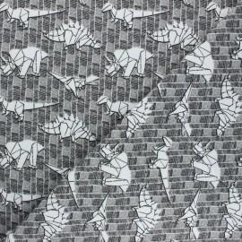 Poppy Sweatshirt fabric - grey Dinosaurs x 10cm