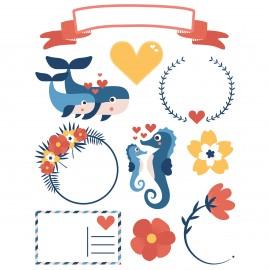 60 Gommettes Décalcomanie Textile et Papier - Loving times
