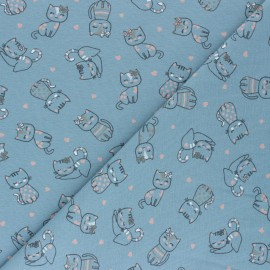 Printed Jersey fabric - blue grey Amour de chatons x 10cm
