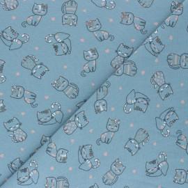 Tissu jersey Amour de chatons - bleu gris x 10cm