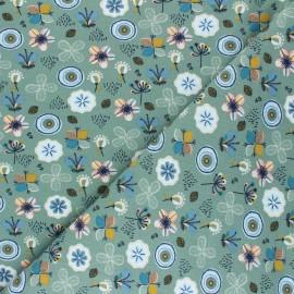 Tissu sweat Poppy Flowers A - vert sauge  x 10cm