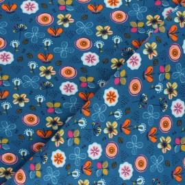 Poppy Sweatshirt fabric - duck blue Flowers A x 10cm
