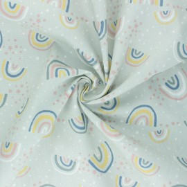 Cotton poplin fabric - light mint Little Rainbows x 10cm