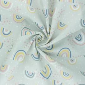 Tissu popeline de coton Little Rainbows - menthe claire x 10cm