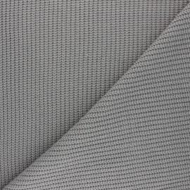 Tissu Maille côtelé Mila - gris souris x 10cm