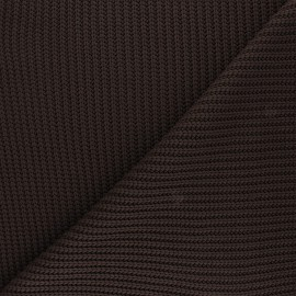Ribbed knit fabric - chocolate Mila x 10cm