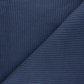 Ribbed knit fabric - sapphire blue Mila x 10cm
