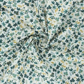 Cotton poplin fabric - green Cyrielle x 10cm