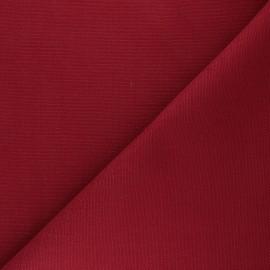 Tissu toile de coton natté réversible - rouge carmin x 10cm