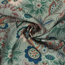 Print polyester satin fabric - sage green Sanyl x 10cm