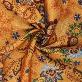 Print polyester satin fabric - mustard yellow Sanyl x 10cm