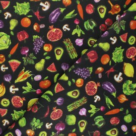 Tissu coton cretonne Primeur - noir x 10cm