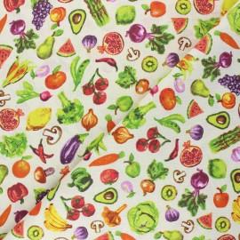 Tissu coton cretonne Primeur - écru x 10cm