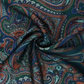 Print polyester satin fabric - green Janjehli x 10cm