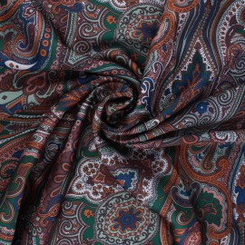 Tissu satin polyester Janjehli - orange x 10cm