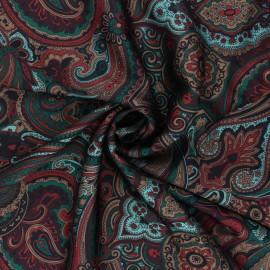 Print polyester satin fabric - burgundy Janjehli x 10cm