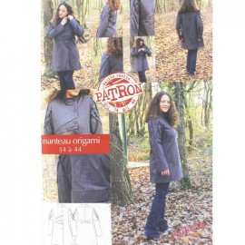Origami Coat sewing pattern (sizes 36 to 44) Lalimaya création par Céline Girardeau - multicolored