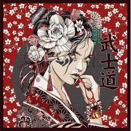 Square Jacquard fabric - red Portrait japonais