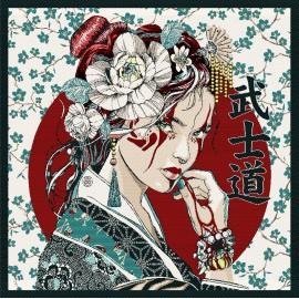 Carré Jacquard Portrait Japonais - Blanc