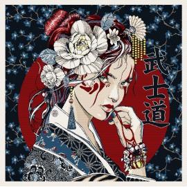 Square Jacquard fabric - dark blue Portrait japonais