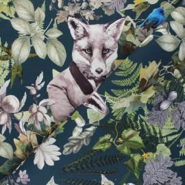 Tissu toile de coton Foxy - bleu pétrole x 42cm