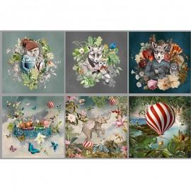 Short velvet panel fabric - multicolor Wonderland x 95cm