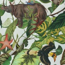 Canvas cotton fabric - ivory Jardin Extraordinaire x 35cm