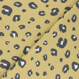 French terry fabric - yellow Panther Dots x 10cm