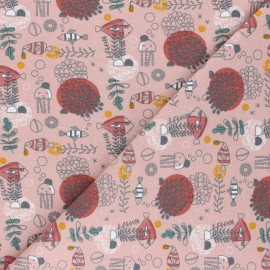 Printed Jersey fabric - old pink Sea Jellyfish x 10cm