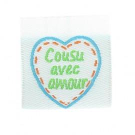 """Etiquette """"Cousu avec amour"""" turquoise"""