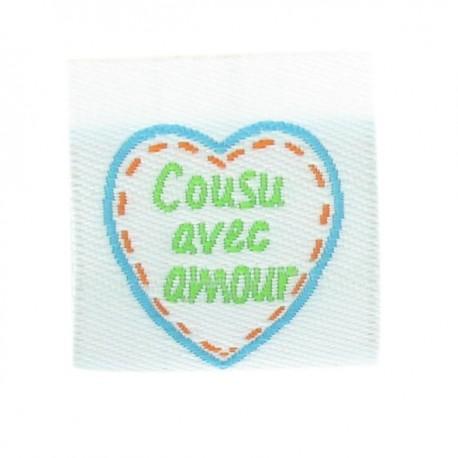 "Label ""Cousu avec amour"" - turquoise"