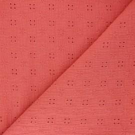Tissu double gaze de coton brodé Elise - grenadine x 10cm
